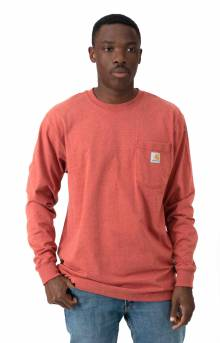 (K126) L/S Workwear Pocket Shirt - Cayenne Heather