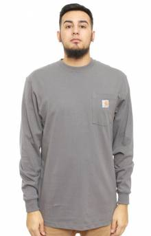 (K126) L/S Workwear Pocket Shirt - Charcoal