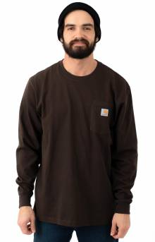 (K126) L/S Workwear Pocket Shirt - Dark Brown