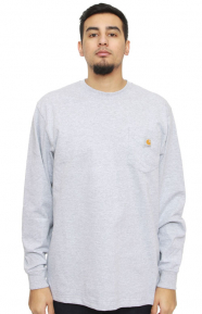 (K126) L/S Workwear Pocket Shirt - Heather Grey