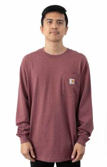 (K126) L/S Workwear Pocket Shirt - Iron Ore Heather
