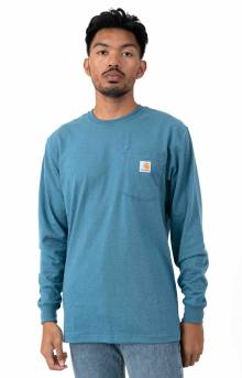 (K126) L/S Workwear Pocket Shirt - Ocean Blue Heather