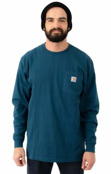 (K126) L/S Workwear Pocket Shirt - Steam Blue