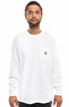 (K126) L/S Workwear Pocket Shirt - White