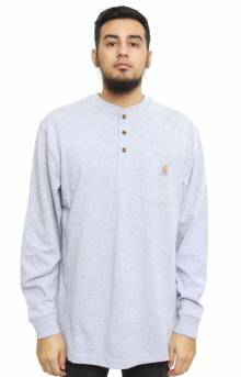 (K128) L/S Workwear Henley - Heather Grey