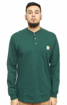 (K128) L/S Workwear Henley - Hunter Green