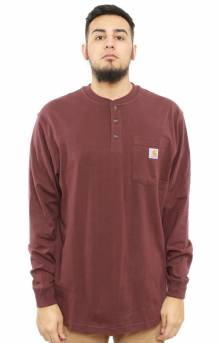 (K128) L/S Workwear Henley - Port