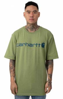 (K195) S/S Signature Logo T-Shirt - Oil Green Heather