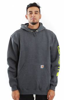 (K288) MW Signature Sleeve Logo Pullover Hoodie - Carbon Heather