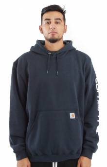 (K288) MW Signature Sleeve Logo Pullover Hoodie - New Navy