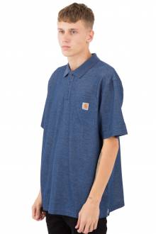 (K570) Contractor's Work Pocket Polo - Dark Cobalt Blue Heather