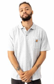 (K570) Contractor's Work Pocket Polo - Heather Grey