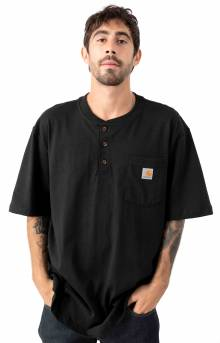 (K84) S/S Workwear Henley T-Shirt - Black