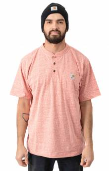 (K84)  Workwear S/S Henley T-Shirt - Harvest Orange Snow Heather
