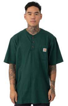 (K84)  Workwear S/S Henley T-Shirt - Hunter Green