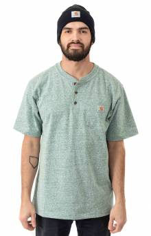 (K84)  Workwear S/S Henley T-Shirt - Musk Green Snow Heather