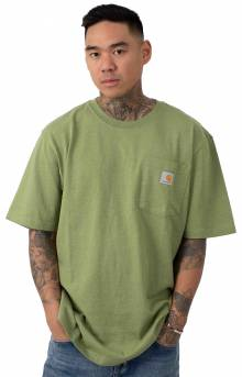 (K87) Workwear Pocket T-Shirt - Oil Green Heather