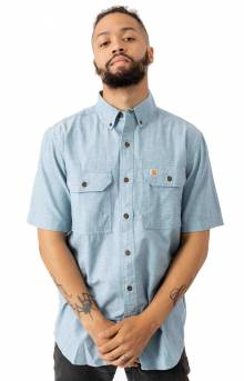 (S200) Fort Solid S/S Chambray Button-Up Shirt - Blue Chambray