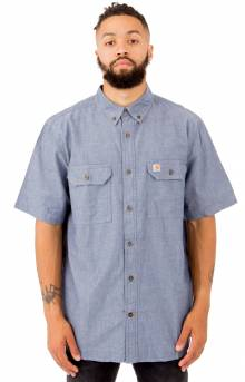 (S200) Fort S/S Chambray Button-Up Shirt - Denim Blue Chambray