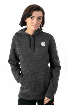 (102791) Clarksburg Graphic Sleeve Pullover Hoodie - Black Heather Nep
