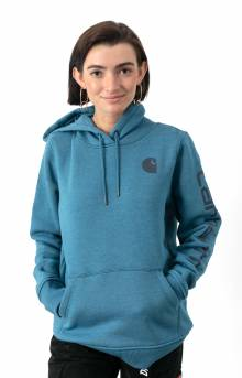 (102791) Clarksburg Graphic Sleeve Pullover Hoodie - Ocean Blue Heather