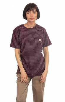 (103067) WK87 Workwear Pocket T-Shirt - Deep Wine Stripe