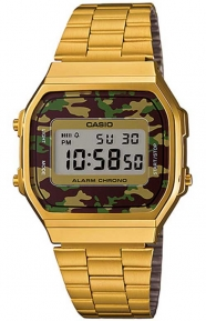 Casio Clothing, A168WEGC-3VT Vintage Collection Watch - Gold/Camo