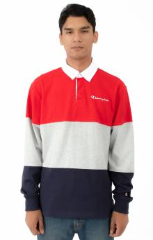 Colorblock Rugby Shirt - Scarlet/Oxford Grey/Navy