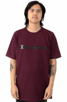 Faux Leather Logo Heritage T-Shirt - Team Maroon