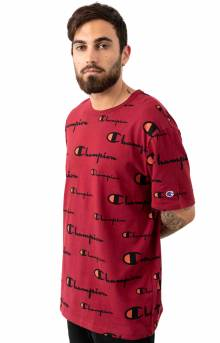 Heritage All Over Multi Scale Script T-Shirt - Cherry Pie