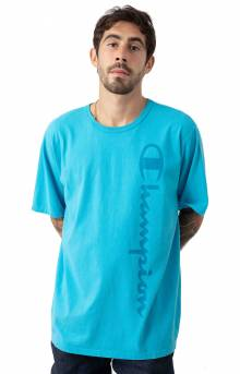Heritage Garment Dyed Vertical Script T-Shirt - Tidal Wave