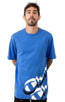 Heritage Panel Script T-Shirt - Steel Blue