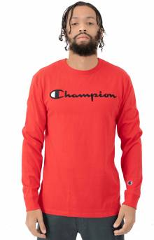 Heritage Script Embroidered L/S Shirt - Team Red Scarlet