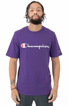 Heritage Script Embroidered T-Shirt - Purple