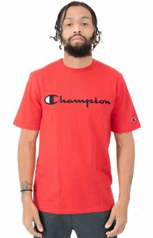 Heritage Script Embroidered T-Shirt - Team Red Scarlet
