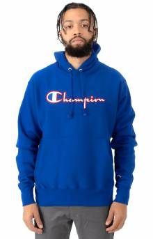 Reverse Weave Satin Stitch Pullover Hoodie - Surf The Web