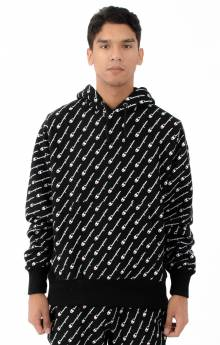 RW Diagonal All Over Print Pullover Hoodie - Black