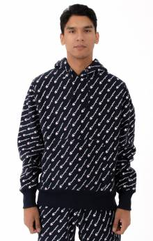 RW Diagonal All Over Print Pullover Hoodie - Navy