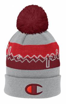 Script Beanie w/ Pom - Oxford Grey/Cherry Pie/Scarlet