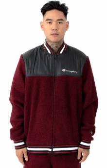 Sherpa Baseball Jacket - Mulled Berry/Black