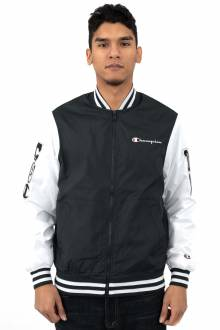 Stain Baseball Jacket w/ Multi Patches - Black/White