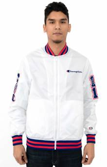 Stain Baseball Jacket w/ Multi Patches - White/Surf The Web