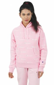 Champion LIFE Women's, Reverse Weave A/O Script Pullover Hoodie - Pink Candy