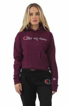 Reverse Weave Chainstitch Script Pullover Hoodie - Dark Berry Purple