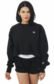 Reverse Weave Cropped Cut Off Crewneck - Black