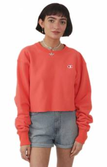 Reverse Weave Cropped Cut Off Crewneck - Groovy Papaya