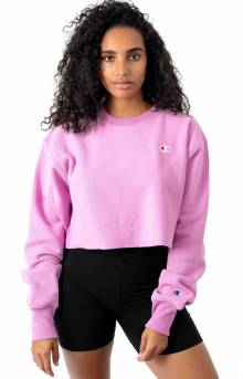 Reverse Weave Cropped Cut Off Crewneck - Paper Orchid