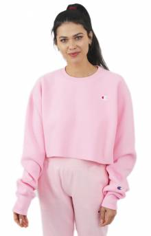 Reverse Weave Cropped Cut Off Crewneck - Pink Candy