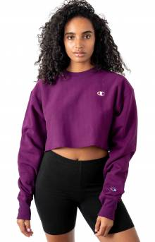 Reverse Weave Cropped Cut Off Crewneck - Venetian Purple