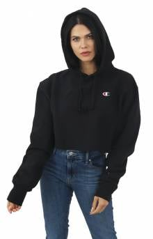 Reverse Weave Cropped Cut Off Pullover Hoodie - Black